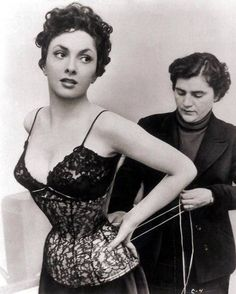 Gina Lollobrigida getting laced up 1950's