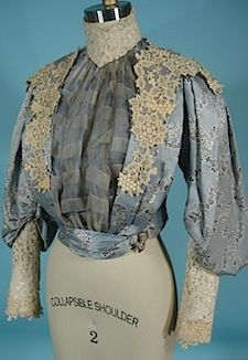 c. 1904 Victorian/Gibson Era Light Blue Patterned Silk Bodice Trimmed in Ecru Lace!