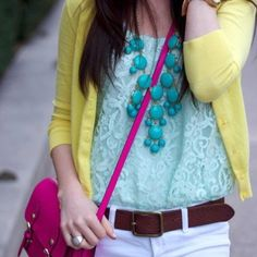 White+yellow+accessories=perfect outfit! <3
