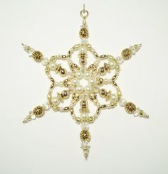 Snowflake Ornament - White Pearl and Gold - Christmas Ornaments - Beaded Ornaments - Holiday Decorations