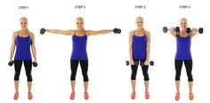 Popular often include Alternating Lateral Raises, which helps you get perfectly toned arms and back for that sleeveless dress. For this fat burning workout, you will need a pair of lightweight dumbbells. Skinny Mom, Elevación Frontal, Body Pump, Fitness Tips, Fitness Motivation, Back Exercises, Weight Exercises, Shoulder Exercises, Lateral Raises