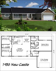 New Castle - Reality Homes Inc. One Level House Plans, New House Plans, Small House Plans, Br House, House Rooms, Garage Floor Plans, House Floor Plans, Tiny Homes, New Homes