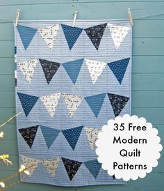 35 Free Modern Quilt Patterns @ wowilikethat.com