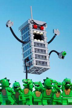 Lego building exacts revenge on mini Godzillas.