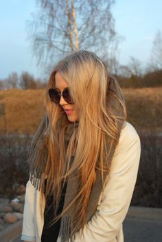 long layered hair with beautiful strawerry blond shade