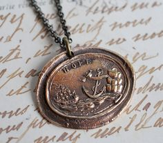 HOPE anchor wax seal necklace in bronze A scene by suegrayjewelry, $48.00    RI love