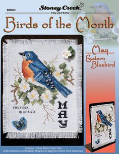 Birds of the Month - May Eastern Bluebird - Cross Stitch