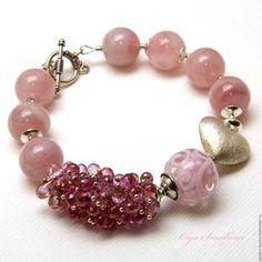 Купить Браслет. Раба любви. - бледно-розовый, розовый браслет, нежный браслет, розовое украшение