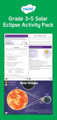 Solar Eclipse Grade 3-5 Activity Pack - This fantastic activity pack contains everything you need to teach your children about the scientific wonder of a solar eclipse. It includes scientific reading comprehension activities, fact files, posters, an informational PowerPoint, interactive picture hotspots, scientific craft instructions, and much more - Twinkl