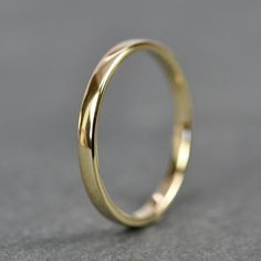 Yellow Gold Wedding Band Simple Stacking Ring by seababejewelry