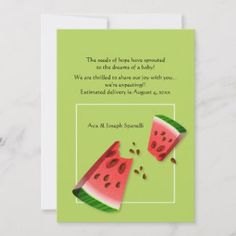 Shop Watermelon Seeds Pregnancy Announcement created by heartfeltclub. Faire Part Simple, Early Pregnancy Signs, Pregnancy Stages, Pregnancy Announcement Cards, Expecting Baby, Baby On The Way, First Time Moms, Cartoon Kids, Mom And Dad