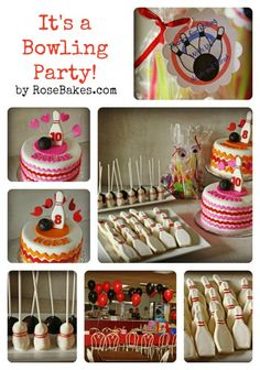 A Bowling Birthday Party!  Boy and Girl Bowling Cakes, Bowling Pin Cookies, Bowling Pin and Bowling Ball Cake Pops and more!!