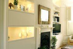 KleiderHaus Custom Made Furniture Manufacturer. I like the blocked in storage at height and the lighting. Also the fact it's pretty flush to the chimney breast Alcove Tv Unit, Alcove Storage, Storage Ideas, Custom Made Furniture, Bespoke Furniture, Living Room Furniture, Living Room Decor, Dining Room, Ikea Shelves