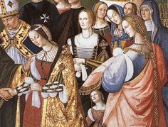 1490 Fresco from the Picccolomini Library in Sienna depicting the marriage of a Portugese princess, Eleaonra  to the Holy Roman Emperor, Frederick III.  She and all her ladies wear Sayas and Mantos as well as Coffias de Tranzado