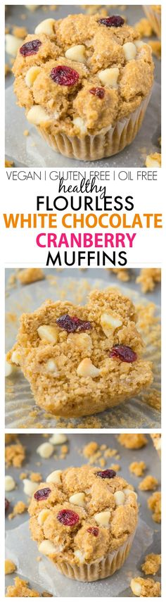 Moist, light and fluffy on the inside, you won't believe these flourless white chocolate cranberry muffins have NO butter, oil, eggs or refined sugar in them! {vegan, gluten free recipe}- thebigmansworld.com