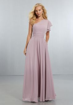 25086c0274ef Morilee 21554 is a one shoulder chiffon bridesmaid gown with a flounced  shoulder, draped bodice. French Novelty