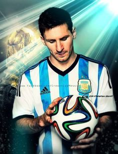 Leo Messi , The FIFA 14 official ball Win a signed Messi ,also he is the best soccer player in the world , he broke the record by receiving 4 golden balls in a row . Messi plays for Barcelona with a contract of 50 millions a year Lionel Messi, Messi And Neymar, Soccer World, Play Soccer, Soccer Stars, Sports Stars, Good Soccer Players, Football Players, Argentina Soccer