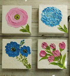 Cute little paintings of oil impasto Ranunculus to mix and match on your wall. Painting have a white impasto background so that they look good on any wall color. Great for a nursery to hang directly to the wall, frame or you can attach ribbon hangers to the back of the wooden frame to give them a extra touch. Also they would make a nice personal gift for a friend, family member, or as bridesmaid or wedding gifts. You can also sit these on a shelf to add a tough of color to your room. Very…