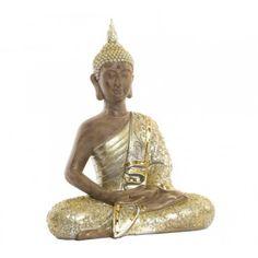 Figura decorativa Buda resina dorado brillante espejos Buddha, Statue, Plaster Crafts, Plaster, Glow, Resin, Mirrors, Projects, Manualidades