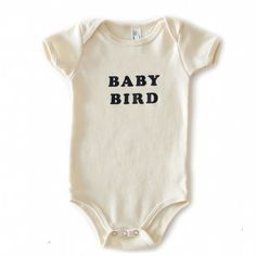 Baby Bird Vintage Organic Cream Onesie (The Bee & The Fox) Professionally screen printed on a natural (cream) colored organic American Apparel onesie with black ink. 100% organic cotton. Made in the U #unisexbabyclothes
