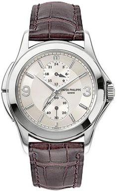 Patek Philippe Calatrava Travel Time 18kt White Gold Mens Watch 5134G
