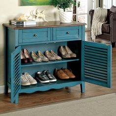 hokku designs country cherrywood with louvered front doors shoe storage cabinet in blue