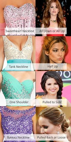 Looking for the right hair style to compliment the neckline of that perfect prom dress? Here are some of our top neckline styles and suggestions on how to wear your hair for the big night. #prom #hair Visit our profile for more fashion from #stylepromdresses