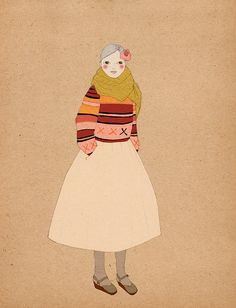 Scarf Girl art print of original drawing by IrenaSophia on Etsy, $20.00