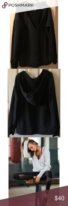 Victoria's Secret Sport Scoop Neck Sweatshirt Super fun and basically brand new slightly oversized sweatshirt. Great to show off fun straps detail from bralettes/sport bras. Soft material, with drawstring hoodie and thumbholes on the sleeves. ❤️ Victoria's Secret Tops Sweatshirts & Hoodies