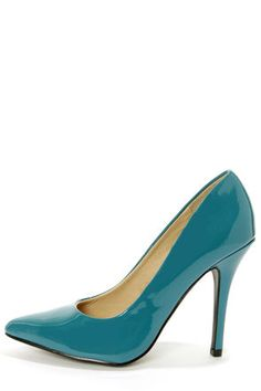 "Shiny, teal blue vegan patent upper is smooth as silk, sleek, and chic as it slopes into a sexy pointed toe, and a classic pump shape on a single sole. Wrapped stiletto heel measures 4"" (plus rubber tip). Well cushioned insole. Rubber sole has non-skid markings."