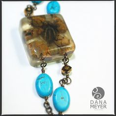 Organics in Resin: Feather and Baby Pine Cone Bracelet with Turquoise and Brass