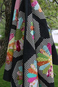 dresden plate quilt .... love the polka dot backgrounds