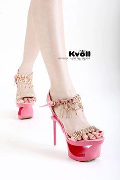 Kvoll - Satin Elegant Diamond Platform High Heel Sandals ID 00041747 - Pumps : Paccony.com
