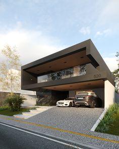 Render - Residence on Behance Modern Villa Design, Modern Exterior House Designs, Dream House Exterior, Exterior Design, Modern House Facades, Modern Architecture House, Architecture Design, House Front Design, Small House Design