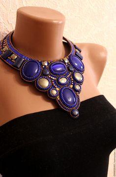 """Купить """" Графиня"""" - тёмно-синий, синий цвет, цвет индиго, колье с камнями"""
