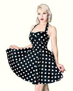 Buy New: $69.99: Black & White 50s Vintage Inspired Polka Dot Halter Dress Pin up Retro Size Small