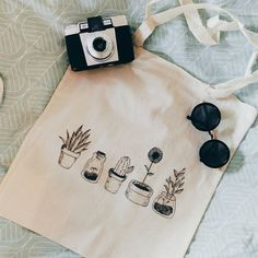 Cotton canvas tote bag cheap all cactus plants black and white