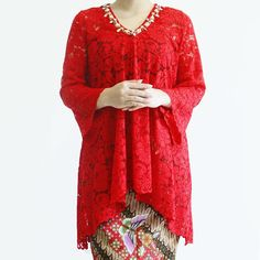 SOLD OUT TOP0535 (red) Bust up to 100cm Front Length 70cm Back Length 85cm Sleeve 50cm no inner included Batik sold separately #eiwacustom