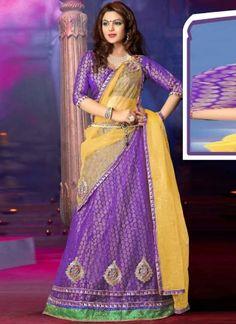 Beautiful Yellow Purple Net Brocade Designer Lehenga Choli http://www.angelnx.com/