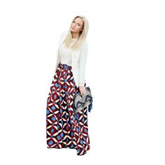 African Print Maxi Skirt - Blue, Burgundy and White. #instafashion #model #skirt 9thelm.com