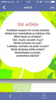 Etsi luonnosta - lehtitutkimusta. Primary Education, Environmental Science, Walking In Nature, Nature Animals, Science And Nature, Kindergarten, Crafts For Kids, Mindfulness, Classroom