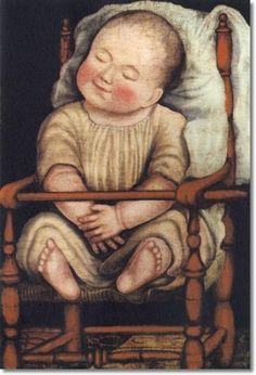Unknown American Artist - American Folk Art Painting Portrait by Unknown Artist - Baby in Red Chair 1825 - 22 x 15 Approximate Original Size in Inches Painting