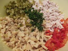 salata-pui-ciuperci-maioneza-1 - Rețete Merișor Creative Food, Grains, Food And Drink, Rice, Salads, Seeds, Korn