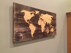 CARVED wooden world map wall art, world map home decor, world map decal, world map poster, distressed, shabby, housewarming, wood wall art by HowdyOwl on Etsy