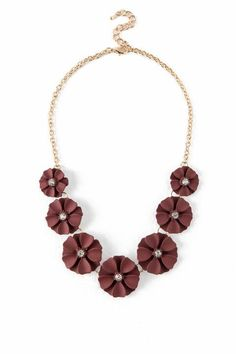 Laina Painted Flower Statement Necklace in Burgundy- Burgundy