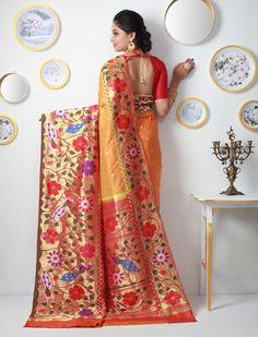 Jankibai Dainty Flowers Of Gold Zari Double Turning Paithani Silk Saree