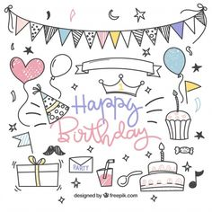 Hand drawn birthday element collection F. Happy Birthday Doodles, Happy Birthday Drawings, Birthday Card Drawing, Happy Birthday Signs, Free Birthday, Party Doodle, Doodle Drawings, Easy Drawings, Creative Birthday Cards