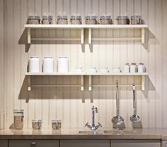 White Kitchen Wall Shelves Mounted Wooden Floating