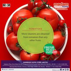 Mix 1 tsp. Tomato juice, 1 tsp. Honey and 1/3 tsp. Baking Soda together until pasty. Apply as a mask and rinse face after 15 mins Your skin will be glowing and radiant! #Madamhome A family SuperMarket  #Malad & #Andheri delivers fresh #vegetables and juicy #fruits #TOMATOES #healthyfood #healthyliving #healthyeating #fruitsandvegetables #healthychoices #nutrition #eatrealfood #getbacktothekitche