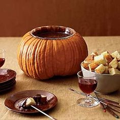 Pumpkin Melting Pot. Use a pumpkin to hold bowl for fondue. For a fondue Halloween dinner party, cut a hole in the top of a pumpkin just large enough to hold the rim of a small bowl; fill the fondue pot with melted chocolate & serve with cubes of pound cake.